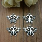 Mixed Set of 8 BUTTERFLY Charms Tibetan Silver Alloy TWO of each as pictured