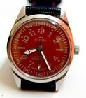 Vintage Fortis Hand-winding Red Dial 17J Swiss Made Analog Royal Mens Wristwatch