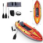 Inflatable Kayak 1 Person Canoe Boat With Oar Hand Pump Portable Canoes Orange