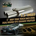 FOR JEEPS 1X USA DEEP TONE SPORT RACE OVAL EXHAUST MUFFLER  DUAL ROUND TIPS