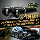 FOR JEEPS 2X USA N1 STYLE STRAIGHT CARBON WRAP STAINLESS STEEL EXHAUST MUFFLER