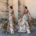 Womens Sexy Plunge V-Neck Backless Party Evening Wedding Summer Prom Maxi Dress