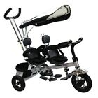 4 in 1 Twins Baby Tricycle with Safety Double Rotatable Seat Back Storage Basket