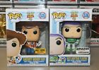 Funko Pop! Toy Story 4: WOODY HT Exclusive & BUZZ LIGHTYEAR Amazon Exclusive! NM