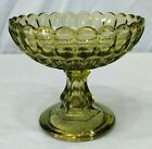 Fenton Thumbprint Olivine Green Glass Pedestal Candy Compote