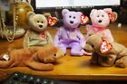 Ty Beanie Baby–Lot of 5 Bears–Pecan, Cubbie,1999 Signature, Mom-e 2003, Yours Tr