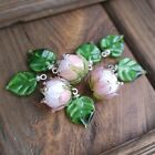Lampwork Beads Set of 9pc Glass Beads 3 flower beads and 6 leaves beads