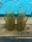 Anchor Hocking Glass Set of 4 Spring Song Amber Tumbler Daisy Flower Vintage