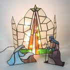 Vintage Stained Glass Nativity 3 Pieces Light Up Christmas Holiday Decor