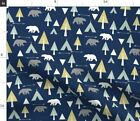 Native Bear Navy Woodland Bears Camping Teepee Fabric Printed by Spoonflower BTY