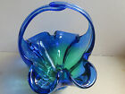 Cobalt Blue Yellow Hand blown Glass Basket Candy dish with Handle Heavy