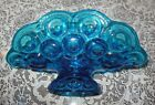 MOON AND STAR (L.E. SMITH) TURQUOISE BLUE LARGE BANANA DISH BOWL