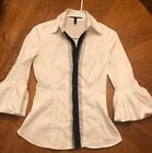 EUC Super Cute White & Black BCBG Max Azria Dress Shirt Collar Ruffles Size XS