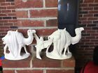 VINTAGE NATIVITY PLASTER FIGURINE Lot of 2 Camels  1 Angel UNPAINTED