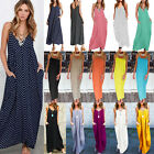 Women Boho Maxi Long Dress Baggy Loose Holiday Summer Beach Kaftan Sun Dress New