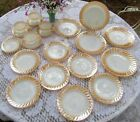 Fire-King Lustre Luster Trim Swirl Dinnerware 21 pc. Set *Mint*