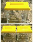 Vintage ART DECO Glass Block Kitchen Canisters w/Yellow Lids Napco Mid-Century