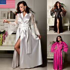 Women Nightdress Silk Satin Lace Lingerie Pajama Kimono Sleepwear Long Robe Gown