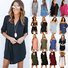 Women Summer Casual Shirt Dress Tunic Top Ladies Loose Blouse T Shirt Mini Dress