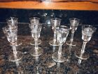 Eight (8) Libbey Glass Silver Leaf Foliage Frosted Cordial Shot Glasses LOOK!