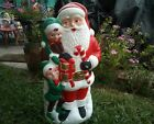 Rare Christmas Santa Claus With Elves Blow Mold 31 TPI 2001 HTF made in Canada