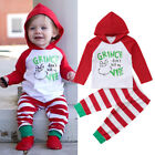 US Newborn Baby Girl Boy Christmas Hooded Tops Pants 2Pcs Outfits Clothes 0 24M