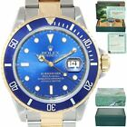 PAPERS Rolex TRITIUM Submariner 16613 40mm Two Tone 18k Gold Blue Watch Box