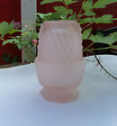 Vtg Frosted Indiana Glass Pink Diamond Point Fairy Lamp Light Candle Holder
