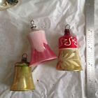 Lot Of 3 Antique Vintage Glass Christmas Ornaments Shape Bells With Clappers