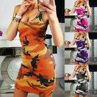 Women Sleeveless Bodycon Mini Dress Camo Casual Summer Long Vest Tank Top Dress