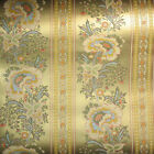 Gold Asian inspired Floral metallic 1960s Vintage Wallpaper One Roll + extra