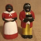 Vintage Pair Aunt Jemima Uncle Moses Salt and Pepper Shakers Plastic F