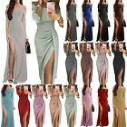 Womens Off Shoulder Formal Maxi Bodycon Dress Split Party Evening Prom Ball Gown