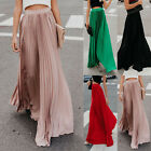 Women's Pleated Long Maxi Skirt Elastic Waist Evening Cocktail Party Swing Dress