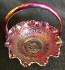 Vtg FENTON Cranberry Iridescent Ruffled Basket With Intricate Embossed Design