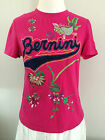 BERNINI Hot Pink COLORFUL EMBROIDERY Stretch Tee KOI FISH FLOWERS Knit Top M L