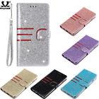 Glitter With Strap Leather Card Bag Case For Samsung Galaxy A7 J3 2018 S10 Cover