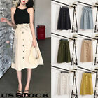 US Fashion Women Retro High Waist Pleated Party A-Line Loose Midi Skirt Dress