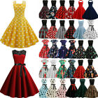 Womens 50s 60s ROCKABILLY Style Swing Pinup Vintage Housewife Party Skater Dress
