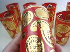 Red Paisley High Ball Tumbler Glasses Set Of 8