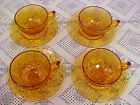 Cups and Saucers Lot of 4 Daisy Amber Gold Indiana Glass #620 Circa 1960-1970