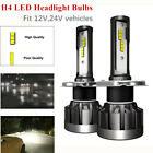 2*H4 LED Car Trucks Headlight Conversion Kit Bulb 110W 30000LM White Power 6000K
