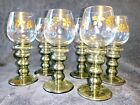 6 Gilded German Roemer Antique Wine Glasses with Prunts, Olive Green Bubble Stem