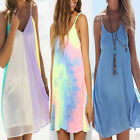 Womens Strap Summer Casual Beach Dress Bikini Cover Up Tunic Swing Mini Sundress