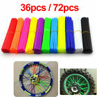 Motocross 36/72pcs Bike Wheel Spoke Wraps Skins Coat Trim Tube Cover Pipe Dirt