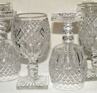 (10) Clear GLASS GOBLETS ~Diamond Thumbprint~ Notched Stems/Square Star Bases