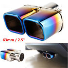 63mm 25 Stainless Steel Inlet Car Dual Exhaust Tip Square Tail Pipe Muffler