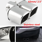 Silver 63mm 25 Inlet Car Square Tail Pipe Muffler Dual End Pipes Silencer