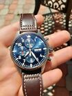 IWC Pilot's Chronograph Le Petit Prince 43mm Blue Dial Leather  (IW3777-14)
