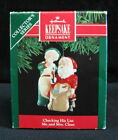 Hallmark Mr & Mrs Claus Checking His List  KEEPSAKE ORNAMENT #6 1991 Handcrafted